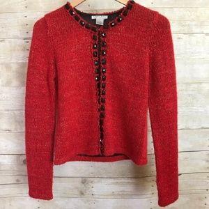 Alberto Makali Red Embellished Wool Blend Sweater